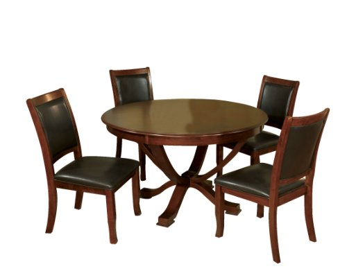Cheap Furniture of America Rakula 5-Piece Round Pedestal Dining Table Set, Brown Cherry Finish