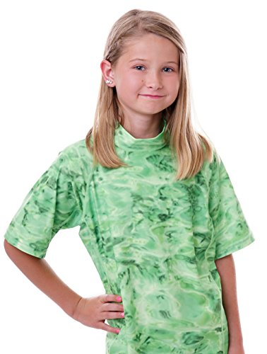 Aqua Design Big Girls Youth Relaxed Fit UPF50+ Sun Protection Surf Swim Rash Guard Shirt, Lime Ripple, Large