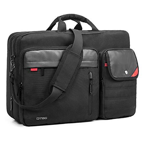 Convertible Backpack Messenger Bag 17.3 Inch Laptop Shoulder Bag Expendable Business Briefcase Extra Large Multi-Functional Travel Computer Bag for Men,Black