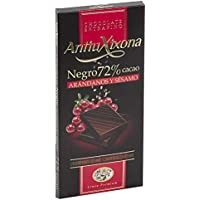 Antiu Xixona Premium - Chocolate Negro 72% Cacao con Arándanos y Sésamo, 100 Gramos