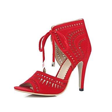 LvYuan Mujer-Tacón Stiletto-Confort Tira en el Tobillo Zapatos del club-Sandalias-Vestido Informal Fiesta y Noche-Vellón-Negro Azul Rojo Blue
