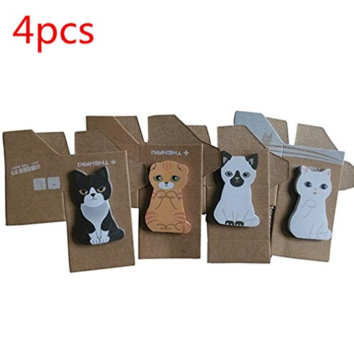 4 x Mini Cute Cartoon Kawaii Cats and Dogs Memo Pads Sticky Notes Memo Notes Easy Post It Note Office Supplies for Girls Women Students School Office Use by RuiChy