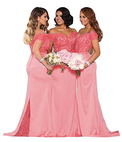 Fanciest Women's Lace Bridesmaid Dresses Long 2019 Formal Mermaid Maid of Honor Gowns US16