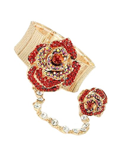 - V G S Eternity Fashions Bracelet Ring Combo ~ Goldtone Red Rhinestone Crystal Rose Flower Hand Chain Slave Bracelet Ring (123779RD)