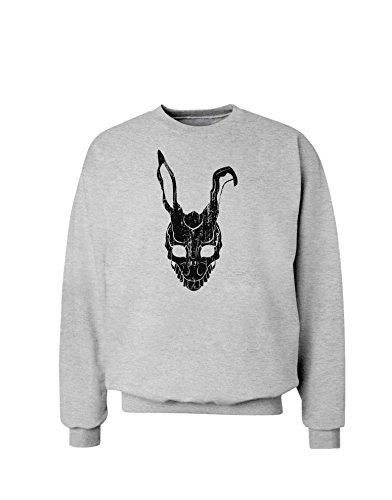 TooLoud Scary Bunny Face Black Distressed Sweatshirt - Ash Gray - Medium