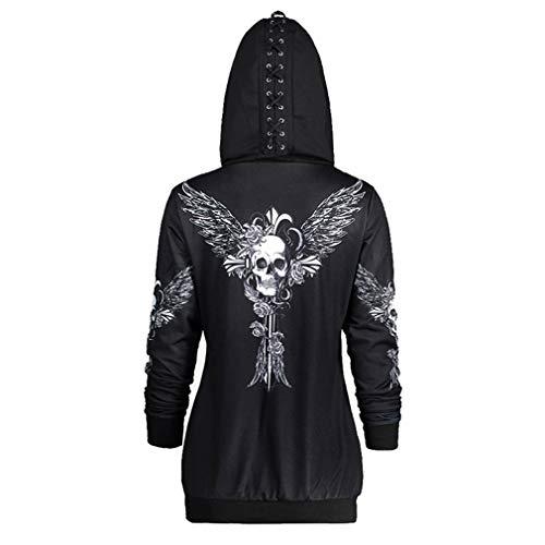 Hibote Femmes Skull Punk Gothique Surdimensionn  Capuche  Capuche  Manches Longues Goth Sweat-Shirt Noir-ws5597