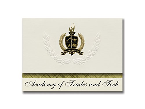 Signature Announcements Academy of Trades and Tech (Albuquerque, NM) Graduation Announcements, Presidential style, Basic package of 25 with Gold & Black Metallic Foil seal