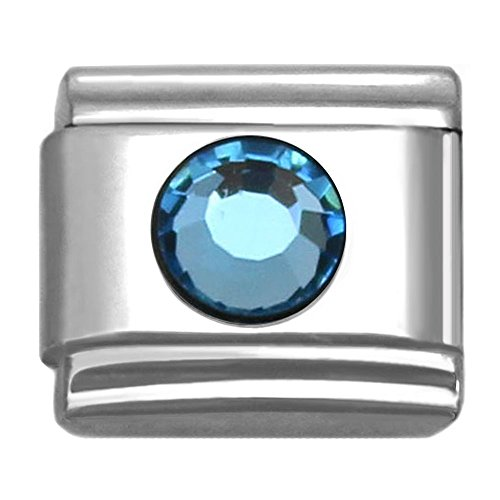 SilverAndJewelry Italian Charms Round Birthstone by Month 9 mm Stainless Steel Bracelet Link (March)