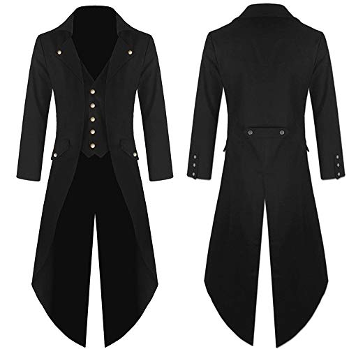 Clearance Forthery Halloween Costumes Mens Coat Jacket Gothic Frock Praty Outwear(US Size M = Tag L, Black) by Forthery