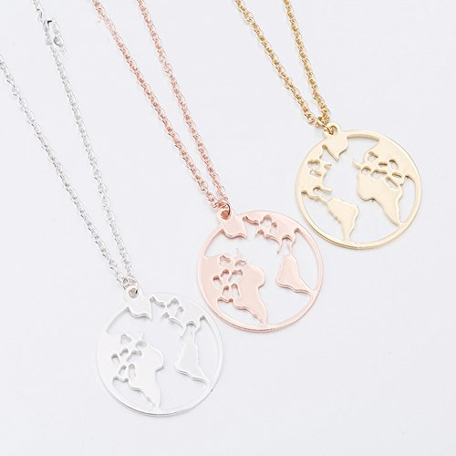 Stan-Deed Creative Design World Map Necklace Hollow World Map Round on