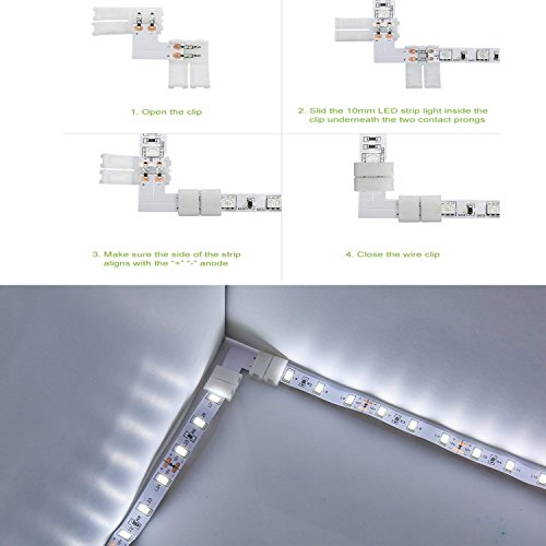 2 Pin 10mm LED Connector Kit for Single Color 5050 Led Strip Lights Connector Free Welding to Controller (10mm Single Color) by ZUCHINI (Image #3)