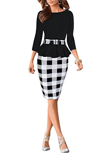 Viwenni Women's Houndstooth Belted Colorblock Tartan Wear to Work Casual Pencil Dress,Small,Black