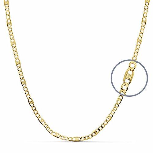 Chaîne 18k creux d'or combiné 45cm barbus. [AA2589]
