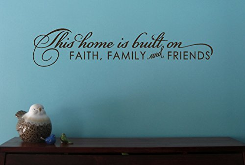 Wall Decor Plus More WDPM3217 Home Built on Faith Family Friends Inspirational Wall Decal, 23 by 5-Inch, Chocolate
