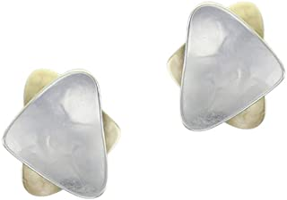 product image for Marjorie Baer Small Stacked Triangle Clip Earring in Brass and Silver
