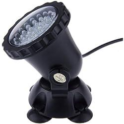 LEMONBEST Underwater Lamp 3.5W 36LED Colorful Submersible Spot Light Flood downlight for Aquarium Garden Pond Pool Tank black