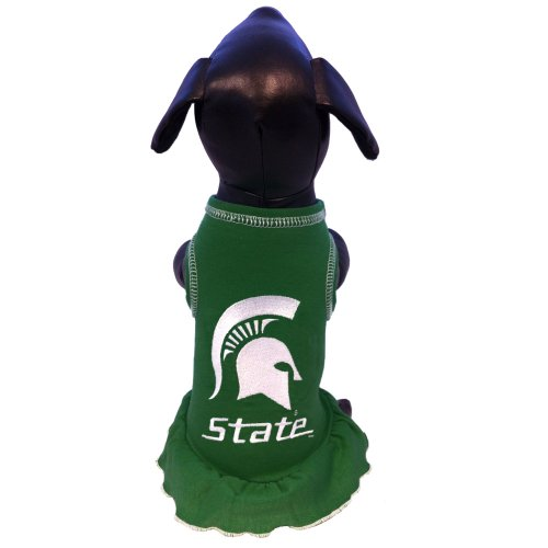 All Star Dogs NCAA Michigan State Spartans Cheerleader Dog Dress, XX-Small - Ncaa Cheerleader Uniforms