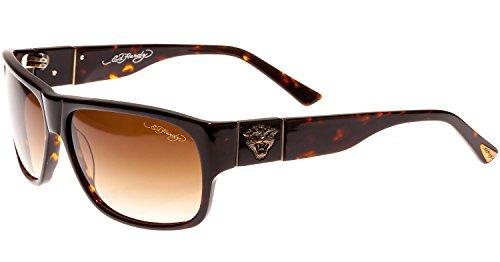 Ed Hardy Tiger Head Sunglasses Tortoise Brown Gradient 62 13 135