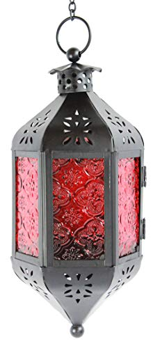 Red Glass Hanging Moroccan Candle Lantern with Chain