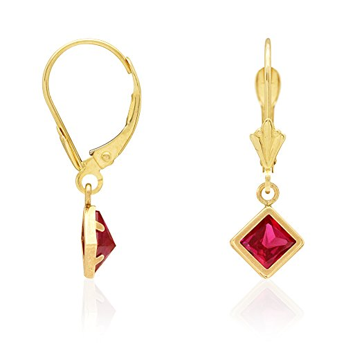 Earring Tourmaline Pink Cut Emerald (14k Yellow Gold Bezel Princess Cut Birthstone Dangle Drop Leverback Earrings, Ruby)