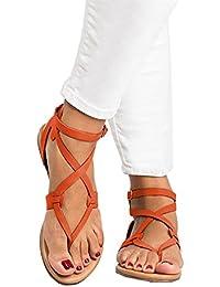 Womens Flip Flop Gladiator Sandals Criss Cross Strap Sandal Shoes