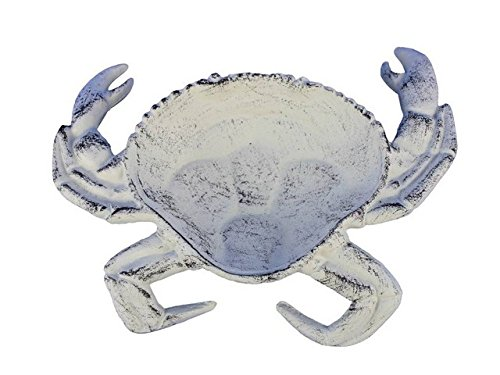 Cast Stone Sinks (Handcrafted Decor K-003-W Whitewashed Cast Iron Crab Decorative Bowl, 7 in.)