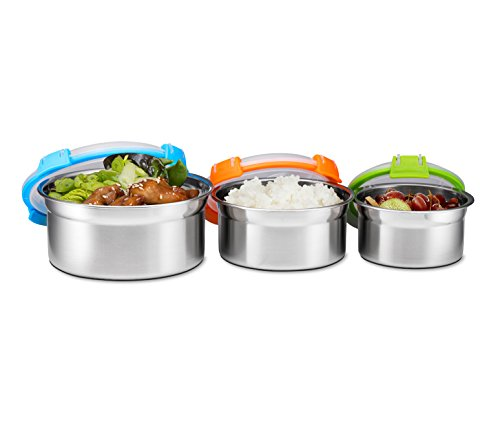 Airtight Food Containers, Set of 3, Stainless Steel with BPA-free Locking Lids, By Bruntmor - Great for School, Work, Picnics, Travel, and More, 8 oz, 16 oz, 24 oz