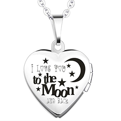 IXIQI Locket I Love You to the Moon and Back 9ct Gold Plated Heart Infinity Love Locket Necklace