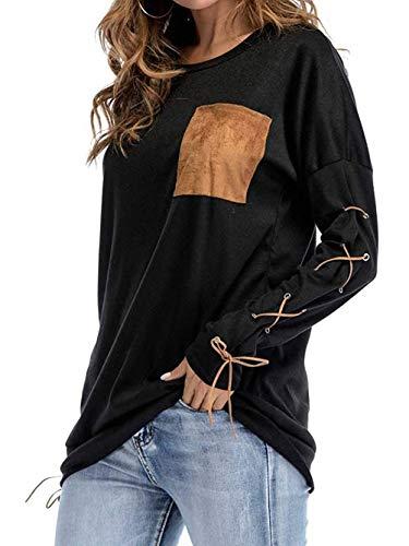Grau Schwarz color Camicie Size Lunghe Con Estate A Donna L Andre Top shirt Girocollo Maniche Da Taschino Tops Fashion Nuovo T Az1axRTn