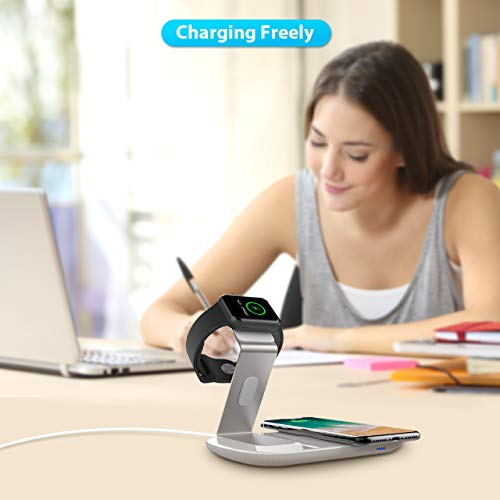 Wireless Charger, Seneo 2 in 1 QI Fast Wireless Charger Pad for iPhone X/8/8 Plus, Samsung Galaxy S9+/S9/S8/Note 8 and with Apple Watch Charger Charging Dock iWatch Charger Holder for 3 2 1 iWatch by Seneo (Image #5)