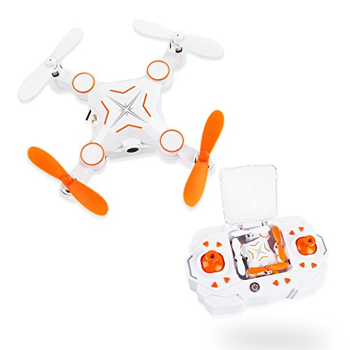LeaningTech M1 Foldable 2.4GHz 4CH 6Axis Gyro Wifi FPV Remote Control Mini Pocket Quadcopter Drone with HD 1MP 720P Camera Live Video, One Key Return, Up to 100M Flight Distance- Orange