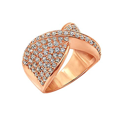 Diamonbliss 14K Rose Gold- Clad Sterling Silver Pave' Set Criss Cross Ring Size-9