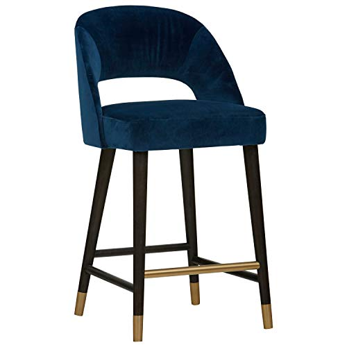 Rivet Whit Contemporary Velvet Upholstered Counter Height Bar Stool- 20 x 20 x 37 Inches, Navy With Gold Accents