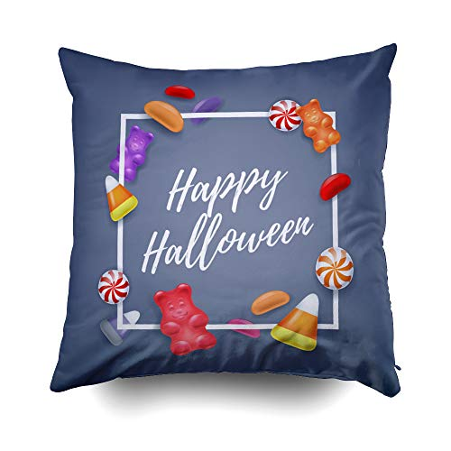 GROOTEY Decorative Cotton Square Pillow Case Covers with Zippered Closing for Home Sofa Decor Size 16X16 Inch Costom Pillowcse Throw Cover Cushion Halloween Halloween Sweets Colorful Party Background -