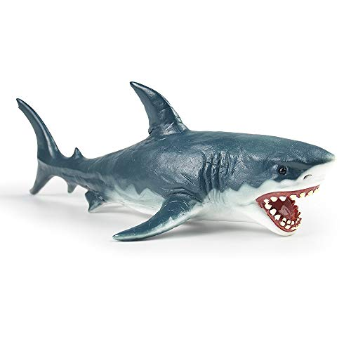 RECUR Great White Shark Figure Toy Megalodon Shark Toys, Hand-Painted Plastic Shark Figurine Collection 10.2inch - 1:20 Scale Realistic Ocean Marin Life Shark Replica, Ideal for Collectors, Ages 3+