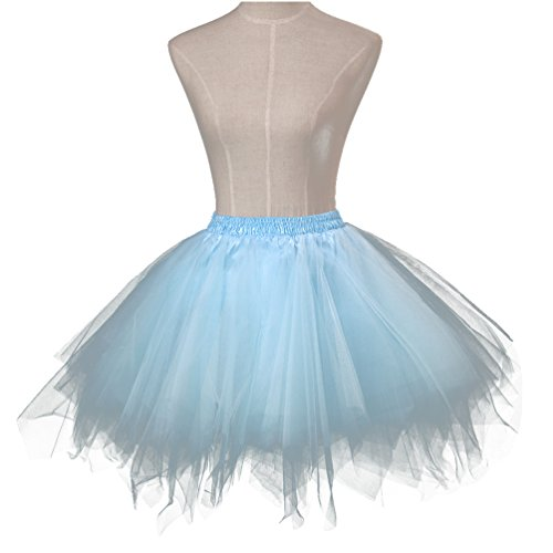 Dancing On Ice Costumes For Kids (Angelaicos Women's Vintage Bubble Ballet Tutu Skirts Petticoat for Kids Adults (Adults S, Ice Blue))