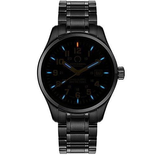 Luxury Men's Tritium Luminous Black light Quartz Military Pilot 100M (Tritium Sport Watches)