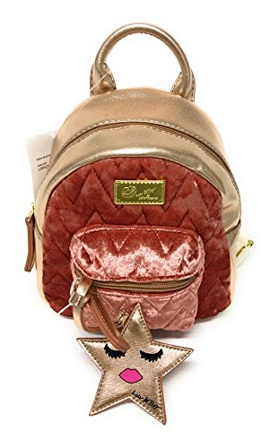 Betsey Johnson Small Backpack in Gold snd Mauve, Handbag,