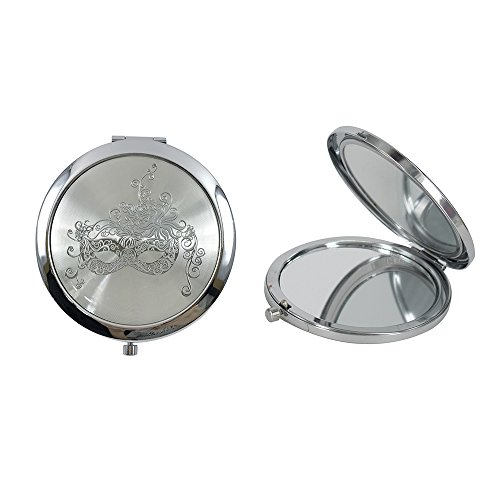 - 12 Pcs Silver Masquerade Mask Compact Mirrors - Quinceanera/Sweet 16/ Bridal Shower/Birthday Favors for Guests