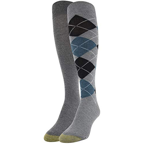 - Gold Toe Women's Argyle Knee High Socks, 2 Pairs, Light Grey/Charcoal, Shoe Size: 6-9