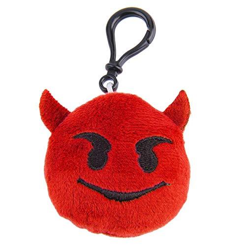 Mini Emoji Face Plush Emoticon Keychain Toy Key Chain Ring Handbag Bag Funny (Color - 6# Devil)