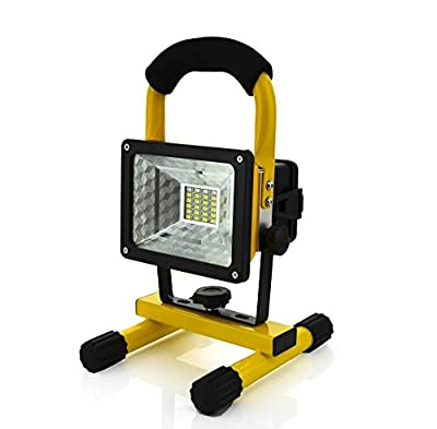 WindFire® Portable Rechargeable Cordless Durable Waterproof Emergency Light 24 LEDs (20 White + 2 Blue +2 RED) 4 Modes 30W 2400LM CREE XM-L LED RGB Work Light Flood Light w/ 360 Degree Rotating Stand 1/2/3 X 18650 Battery (Included) Powered IP65 Weather R