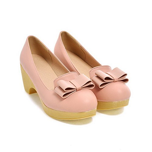 Amoonyfashion Dames Pull-on Ronde Gesloten Teen Kitten-hakken Pu Stevige Pumps-schoenen Roze
