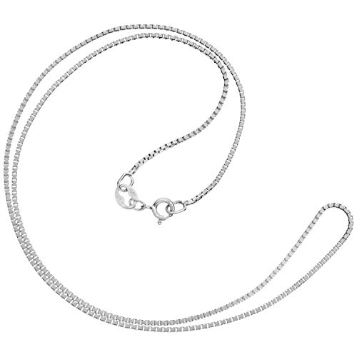 14K Solid White Gold Necklace | Box Link Chain | 14 Inch Length | 1.0mm Thick | With Gift Box