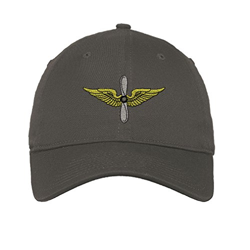 Army Aviation Twill Cotton 6 Panel Low Profile Hat Dark Grey Aviation Cap