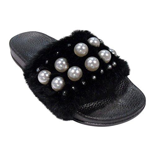 Påsk Våren Försäljning 2018 Lauren Flip Flop Bredbands Faux Furry Sandal Tofflor För Kvinnor (blandade Färger) Pearl Black