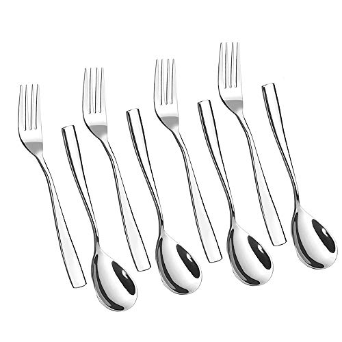 HOMMP 8-Piece Serving Spoons and Forks Set, Stainless Steel Flatware Buffet Serving 4 ()