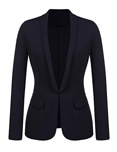 Kaimu Women's Casual Long Sleeve Open Front Blazer Work Office Cardigan Classic Jacket (Classic Jacket)