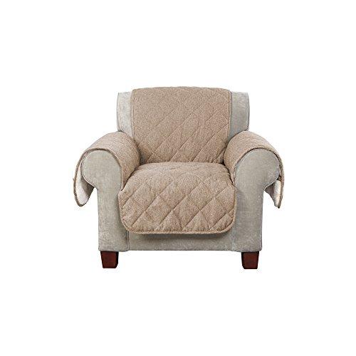 Walnut Futon Chair - SureFit SF44394 Flannel/Sherpa, Chair, Walnut