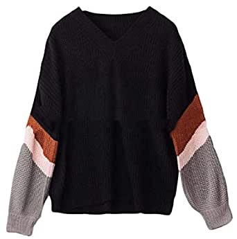 Womens Sweaters Striped Long Sleeve Knit Jumper Loose V-Neck Pullover Sweaters Black XS